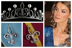 Photos (clockwise from top left): tiara detail; the Princess of Asturias (as a brooch); brooch detail; brooch detail