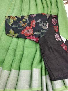 Pure linen saree desihner blouse what app 9047090885 Cotton Saree Designs, Saree Blouse Neck Designs, Fancy Blouse Designs, Stylish Blouse Design, Designer Blouse Patterns, Lehenga, Anarkali, Varanasi, Bandhini Saree