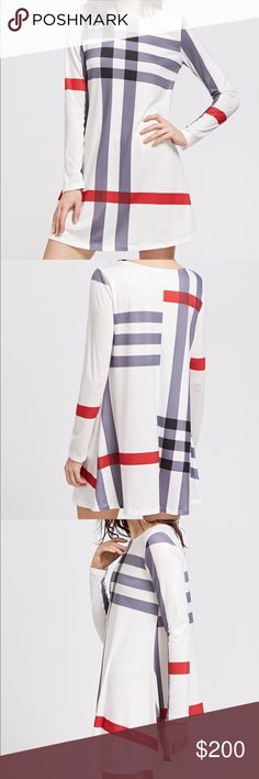 Arrived!!! Dress White striped long sleeve dress  Measurements: Bust: S:91cm, M:95cm, L:99cm, XL:103cm Length: S:83cm, M:85cm, L:87cm, XL:89cm  Price will be lower. Make an offer if you want it. Dresses