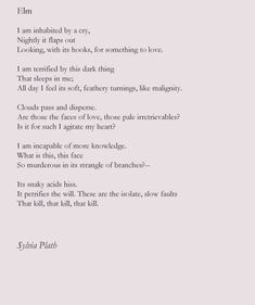 """Poem: """"Elm"""" - by Sylvia Plath. Pretty Words, Love Words, Beautiful Words, Beautiful Lines, Sylvia Plath Poems, Literature Quotes, Poem Quotes, Life Quotes, Writing Poetry"""