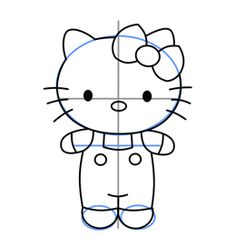 How to draw Hello Kitty - drawing the feet