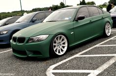 Matte Green BMW 3 Series (E90) on Style 95 wheels  More BMW photos at:Bimmers.tumblr.com