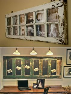 recicla puerta antigua Old Window Projects, Home Projects, Farmhouse Wall Decor, Rustic Decor, Furniture Makeover, Diy Furniture, Door Picture Frame, Recycled Door, Reclaimed Doors
