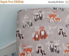 ON SALE Fitted Crib/ Toddler Sheet - Hello Bear - Brown, Grey, Ivory - Woodland Animals - Bear, Raccoon, Owl, Deer by myfrecklesshop on Etsy https://www.etsy.com/listing/236329864/on-sale-fitted-crib-toddler-sheet-hello