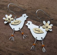 Chicken Earrings  in copper sterling silver and by KathrynRiechert, $52.00