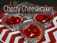 Mini Cherry Cheesecakes Recipe with Nilla Wafers Crust. These are really easy to make and they taste amazing. Plus there are variation recipe ideas for chocolate cheesecakes and more themes!
