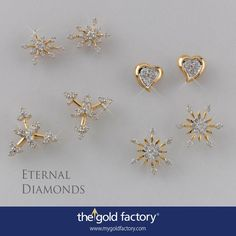 Snowflakes in naked settings and a pair of soft hearts. These eartops from our Eternal Diamonds collection ensure the fun in differently designed fine jewellery never dims. Just a day left for the NO MAKING CHARGES scheme to end. Hurry up ! Diamond Earing, Diamond Jewelry, Gold Jewelry, Gold Earrings For Women, Gold Earrings Designs, Kids Earrings, Small Earrings, Beautiful Earrings, Beautiful Necklaces