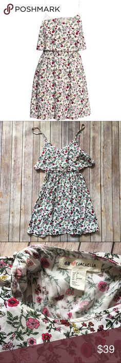 """H&M Loves Coachella Floral Dress Plan for Coachella early! This limited edition, boho-rocker-chic H&M Loves Coachella dress with all over floral print and adjustable spaghetti straps is lightweight and perfect for dancing along to your favorite tunes! Elastic waistband. Approx. 31.5"""" L. Excellent pre-loved condition!   SUGGESTED USER NO TRADES NO MODELING ✅DOG FRIENDLY ,  SMOKE FREE HOME ✅I  REASONABLE OFFERS  PLEASE USE OFFER BUTTON!  ❓ASK IN THE COMMENTS! H&M Dresses Mini"""