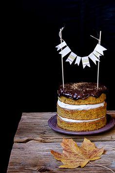 sweet, moist (oil based) spiced pumpkin cake with mascarpone buttercream & chocolate gahache