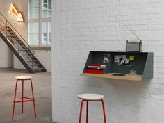 Modern Wall-Mounted Desk Designs With Flair And Personality Home Office Furniture, Home Office Decor, Home Decor, Homework Organization, Organizing Ideas, Cool Office Supplies, Wall Mounted Desk, Office Supply Organization, Secretary Desks