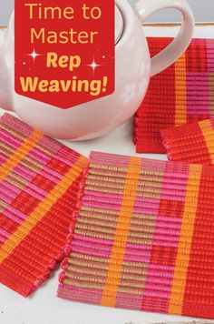 Looking for a great into to warp-faced rep weaving? Try these little coasters! Once you've warped and threaded the loom, each coaster takes just half an hour to weave!