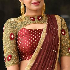 Bridal red blouse design with embroidery and bead work Bridal red. - Bridal red blouse design with embroidery and bead work Bridal red blouse design with - Saree Blouse Neck Designs, Saree Blouse Patterns, Designer Blouse Patterns, Fancy Blouse Designs, Bridal Blouse Designs, Neckline Designs, Lehenga Blouse, Dress Patterns, Stylish Blouse Design