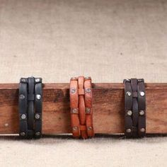WILL LEATHER GOODS: Rails leather cuff bracelet - Photo