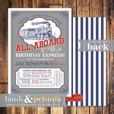 Vintage Inspired Choo Choo Train Birthday Invitation