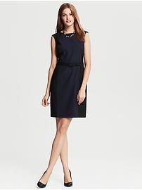 Navy Colorblock Lightweight Wool Belted Sheath