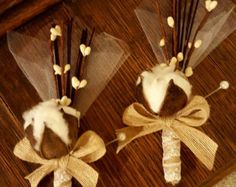 Boutonnieres, Cotton Boutonnieres, Rustic Boutonnieres with lace