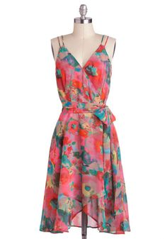 Watercolor the Flowers Dress by BB Dakota - Pink, Multi, Spaghetti Straps, Spring, Floral, Belted, A-line, V Neck, Daytime Party, Beach/Resort