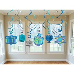 Decorate a holiday celebration with our Hanukkah Hanging Swirls! Each package features blue and silver foil swirls with Hanukkah cutouts! Includes: 6 foil swirls, 3 swirls with and 3 swirls with cutouts. Includes a total of 12 swirls per package. How To Celebrate Hanukkah, Happy Hanukkah, Christmas Hanukkah, Office Christmas, Hanukkah Menorah, Hannukah, Hanukkah Decorations, Hanging Decorations, School Decorations