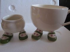 Carlton Ware Walking Ware Egg Cup And Matching Walk Cup Mug, Lime Green Shoes and Pink Star Pattern Socks. Lustre Pottery 1975 by Yesterdayshome on Etsy