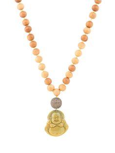 Randi Elyse Sandalwood Bead and Large Jade Buddha Necklace. Available at London Jewelers!