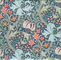 William Morris Golden Lily pattern on tile (Huntington Museum base pattern), medium variation