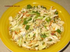 Cabbage Salad: A healthy salad made with cabbage and other vegetables flavored with orange juice and ginger juice. Cabbage salad is a good meal for diet and weight watchers. Vegetarian Gravy, Vegetarian Side Dishes, Vegetarian Recipes, Cooking Recipes, Healthy Recipes, Easy Cabbage Recipes, Easy Indian Recipes, Vegetable Recipes, Indian Salads