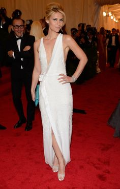 Met Gala 2012: Claire Danes in white silk J. Mendel dress... Van Cleef & Arpels jewels and Christian Louboutins. HOT!