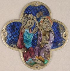Plaque with the Heavenly Coronation of the Virgin  Date:     14th century Geography:     Made in Catalonia, Spain Culture:     Catalan Medium:     Basse taille enamel, silver Dimensions:     Overall: 2 x 1 15/16 x 1/16 in. (5.1 x 4.9 x 0.1 cm) Classification:     Enamels Credit Line:     Gift of J. Pierpont Morgan, 1917 Accession Number:     17.190.979 Metropolitan Museum of Art, New York