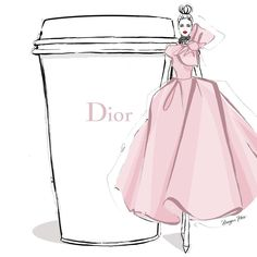 "2,426 Likes, 36 Comments - Megan Hess (@meganhess_official) on Instagram: ""I'm thinking a frothy powder pink Couture dress to glide into the week and one giant DIOR coffee!…"""