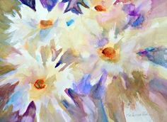 Wind Dancers - Original Abstract Watercolor Floral Painting by Texas Contemporary Artist Filomena de Andrade Booth, painting by artist Filomena Booth