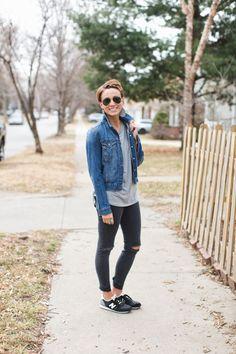 cool mom clothes, distressed skinnies, denim jacket, leather earrings, aviators