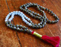 Angelite and Blue Labradorite Zen Mala 108 Mala Beads by BijaMalas, $60.00