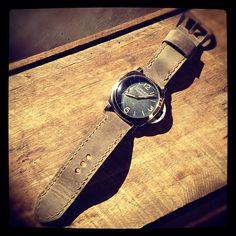 Vintage Panerai Luminor 6152/1 on grey Bas and Lokes handmade leather watch strap. #watchstrap #watches #Panerai www.basandlokes.com