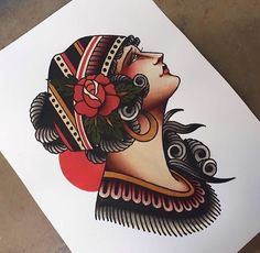 Traditional Tattoo Painting, Traditional Tattoo Sketches, Traditional Tattoo Old School, Traditional Tattoo Design, Traditional Tattoos, Pin Up Tattoos, Head Tattoos, Body Art Tattoos, Sleeve Tattoos