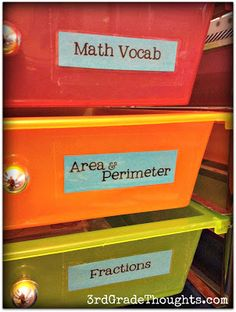 Grade Thoughts: Labeling Plastic Drawers/Bins/Shelves the Easy Way! 3rd Grade Thoughts, Area And Perimeter, Plastic Drawers, Classroom Organization, Organizing, Fractions, Math Centers, Shelves, Teaching