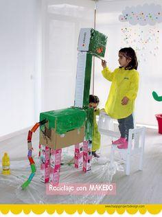 Reciclaje con #makedo : Dinosaurio Upcycling