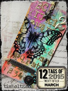 12 Tags March 2015 | www.timholtz.com エンボス、マスクシート、テクスチャーペースト+エンボス
