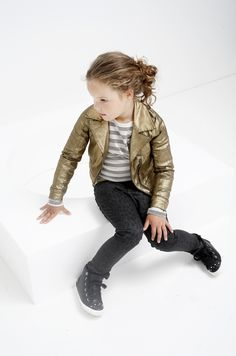 tumble n dry biker jacket in gold. Party collection for kids.