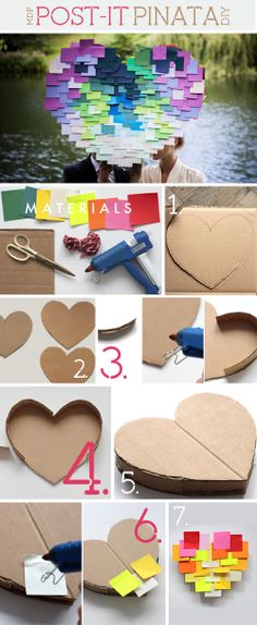 "DIY Post-It Pinanta ~ Think out of the box! ""haha"" but do the same with the heart cardboard for a wall hanging . Use all those beautiful paint chip cards we collect,  OH yes I say a Hippie Plus! Hippie Hugs with Love, Michele ~♥~"