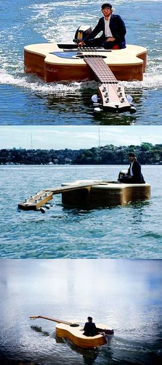At first glance, this appears to be a gigantic guitar, and that's because it is, albeit one that doubles as a boat.