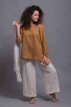 Linen Top SOVA with Long sleeves, Loose Linen Blouse, Petite - Plus Size Linen Shirt, Washed Linen Summer Women's clothes, 23 color options #linenclothes #linentop #ecofashion #slowfashion #plussizefashion