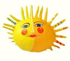 Pappmache - Sonne,  h 25cm, Pappmache - ein Designerstück von villaazula bei DaWanda