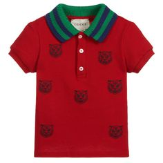 d038da360186c Baby boys red polo shirt with tiger embroidery from Gucci. Made in soft  cotton piqué. Childrensalon
