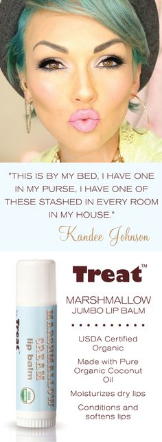 Treat Marshmallow Cream Jumbo Organic Lip Balm is the sweet solution to your chapped lips. This lip balm is USDA certified organic and more than triple the size of a normal lip balm. Treat yourself to one today.