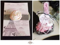 custom invitations and a DIY manicure favor, paris themed baby shower, bridal shower
