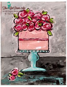 "Excited to share this item from my #etsy shop: Whimsical Floral Birthday Cake, Artist's original art, 11"" x 14"" Acrylic on Archival Stretched Canvas Painting"