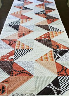 Reversible Halloween/Flea Market Fancy Table Runner pattern by Saltwater Quilts