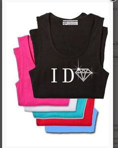 "Rhinestone and print ""I Do"" Bling Tank Top - Regal Rhinestones and Embroidery  - 1"