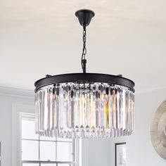 Modern Crystal Wall Sconces Lighting Fixture - Zgear Black Iron Single Wall Lamp with Clear Glass Prisms for Dining Room, Bedroom Bedside, Living Light,Black) Modern Crystal Chandelier, Lantern Lights, Crystal Lighting, Candle Styling, Chandelier, Drum Chandelier, Elegant Chandeliers, Pendant Ceiling Lamp, Ceiling Lights