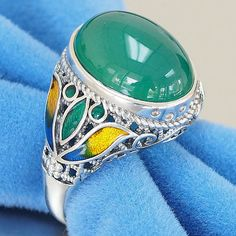 Sterling Silver Handmade Signet Filigree with Enamel womens vintage natural green onyx cabochon ring